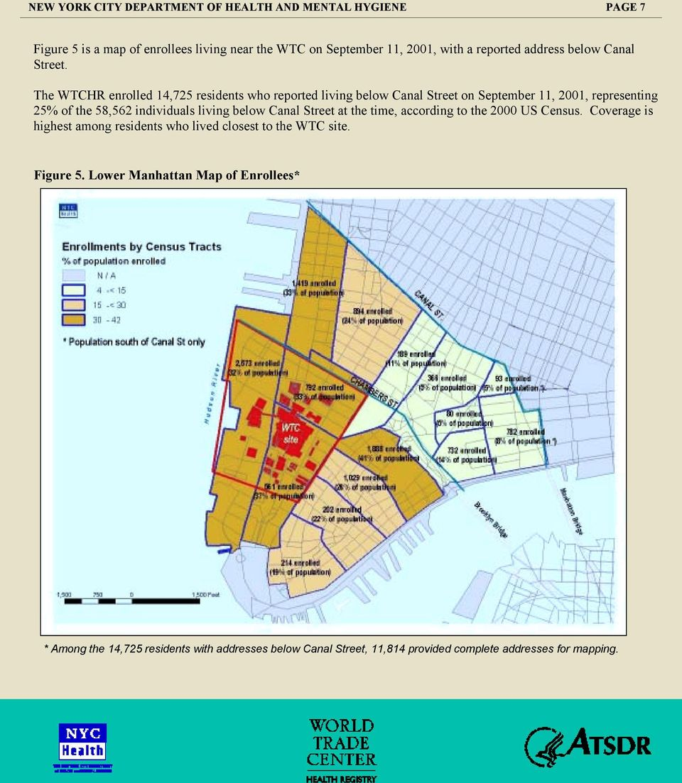 The WTCHR enrolled 14,725 residents who reported living below Canal Street on September 11, 2001, representing 25% of the 58,562 individuals living below