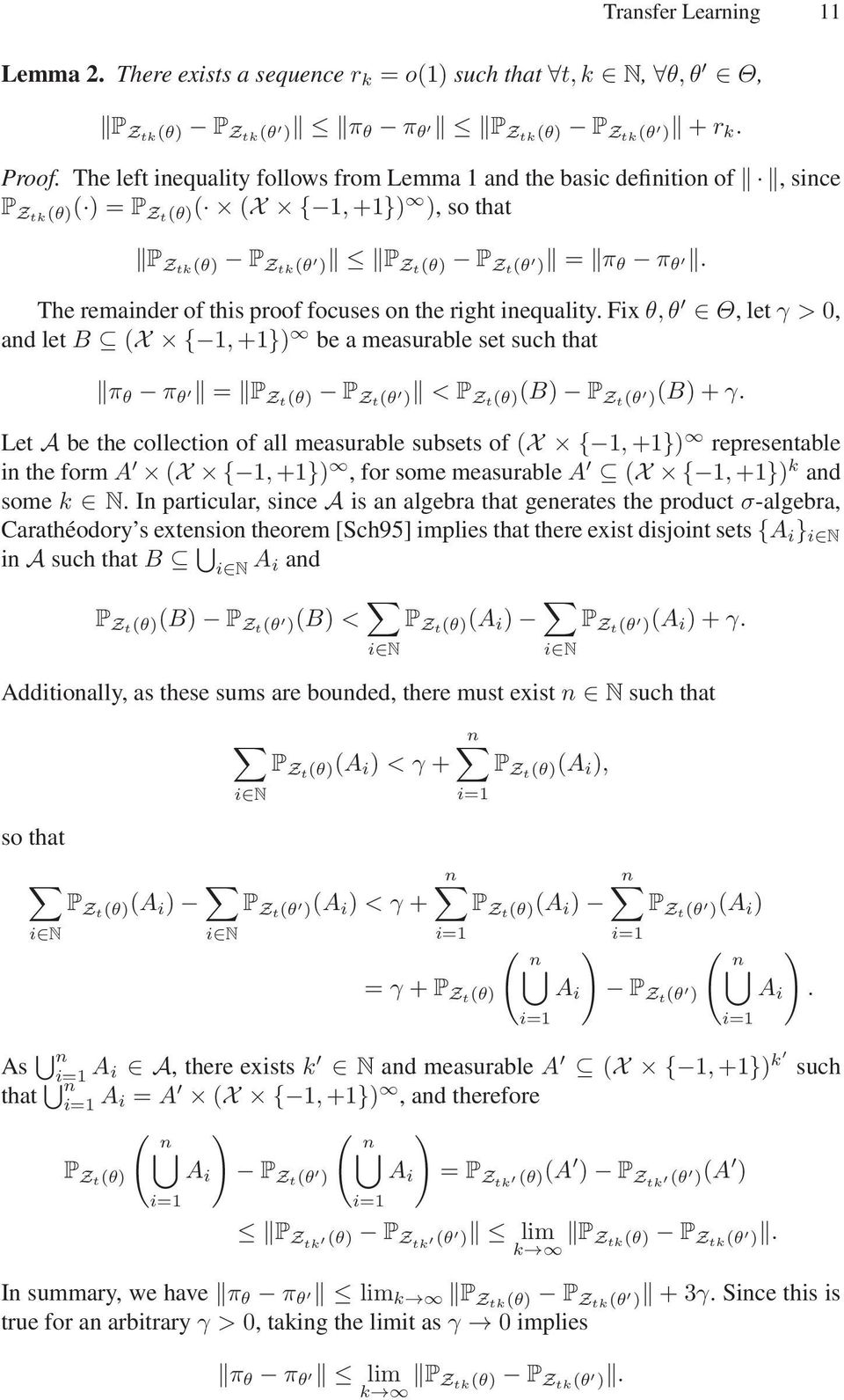 The remainder of this proof focuses on the right inequality. Fixθ,θ Θ, letγ > 0, and let B (X { 1,+1}) be a measurable set such that π θ π θ = P Zt(θ) P Zt(θ ) < P Zt(θ)(B) P Zt(θ )(B)+γ.