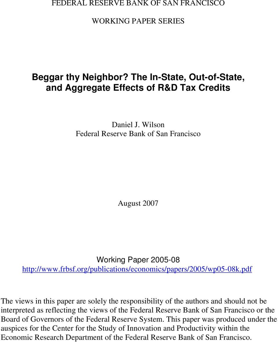 pdf The views in this paper are solely the responsibility of the authors and should not be interpreted as reflecting the views of the Federal Reserve Bank of San Francisco or the