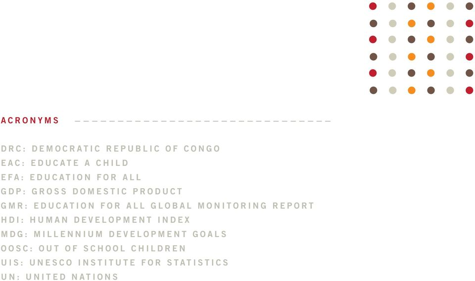 Monitoring Report HDI: Human Development Index MDG: Millennium Development