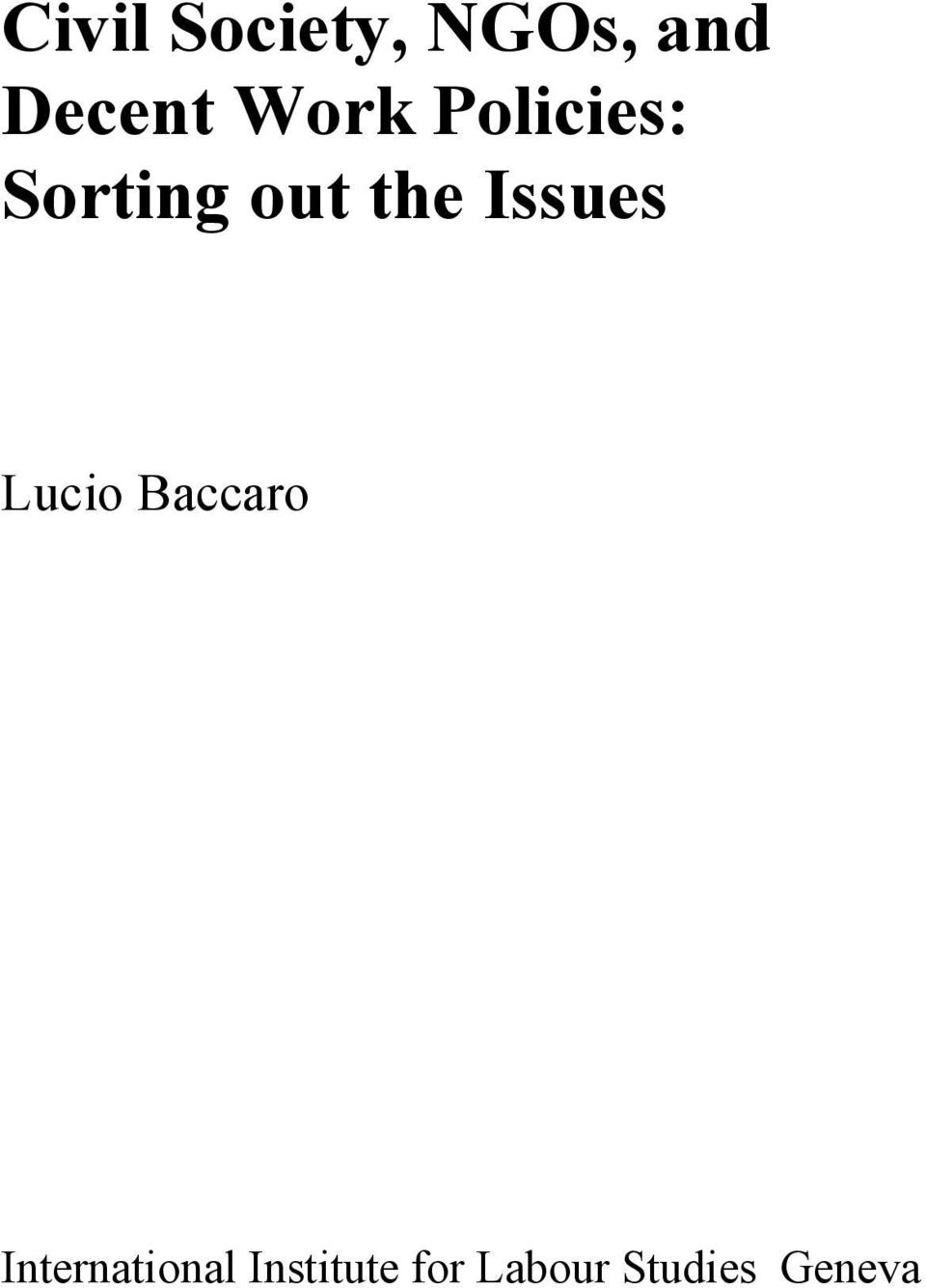 Issues Lucio Baccaro