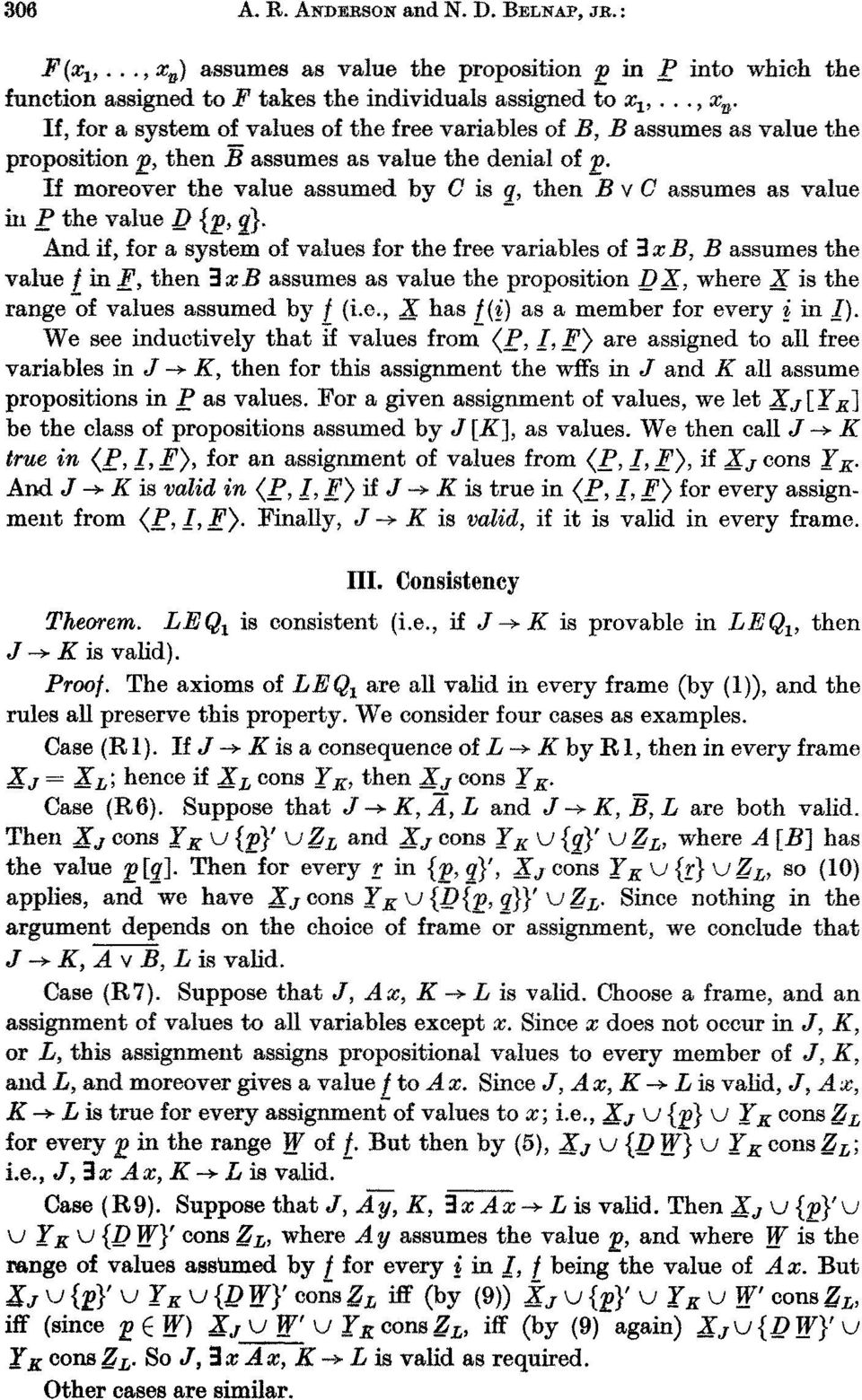 If moreover the value assumed by C is q, then B v C assumes as value ill P the value _D {_p, q}.