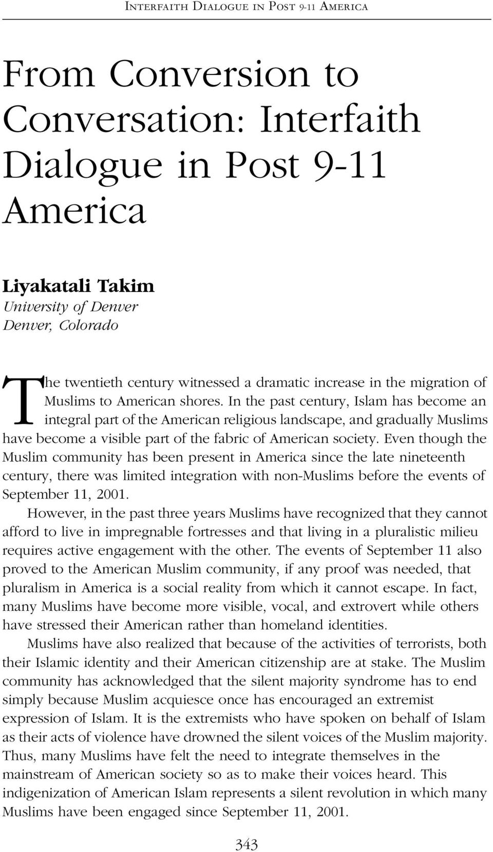 migration of Muslims to American shores.