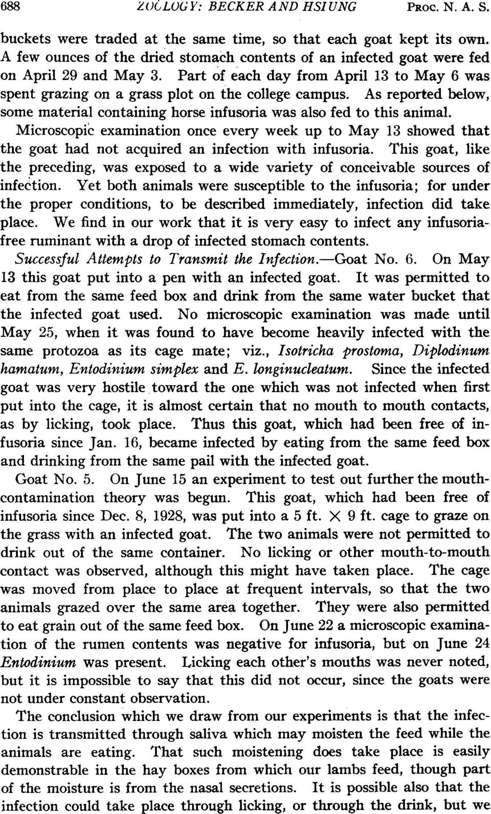 As reported below, some material containing horse infusoria was also fed to this animal.