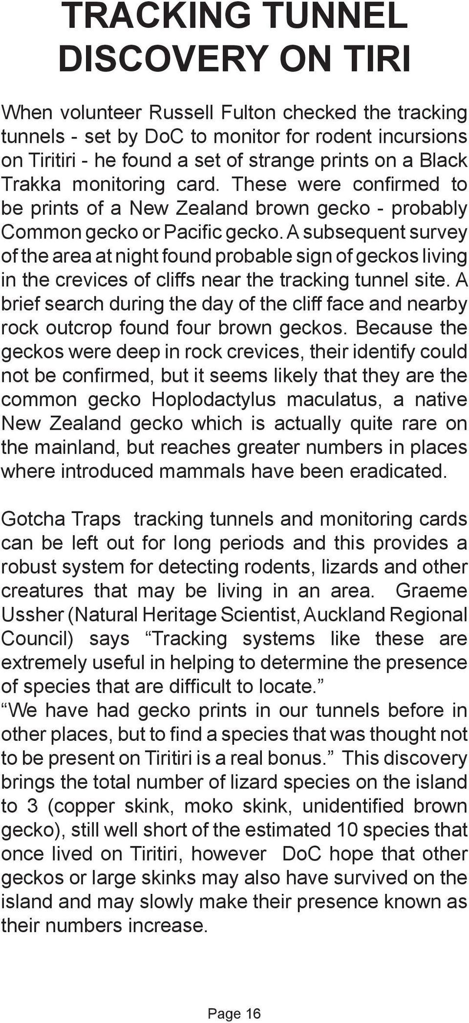 A subsequent survey of the area at night found probable sign of geckos living in the crevices of cliffs near the tracking tunnel site.