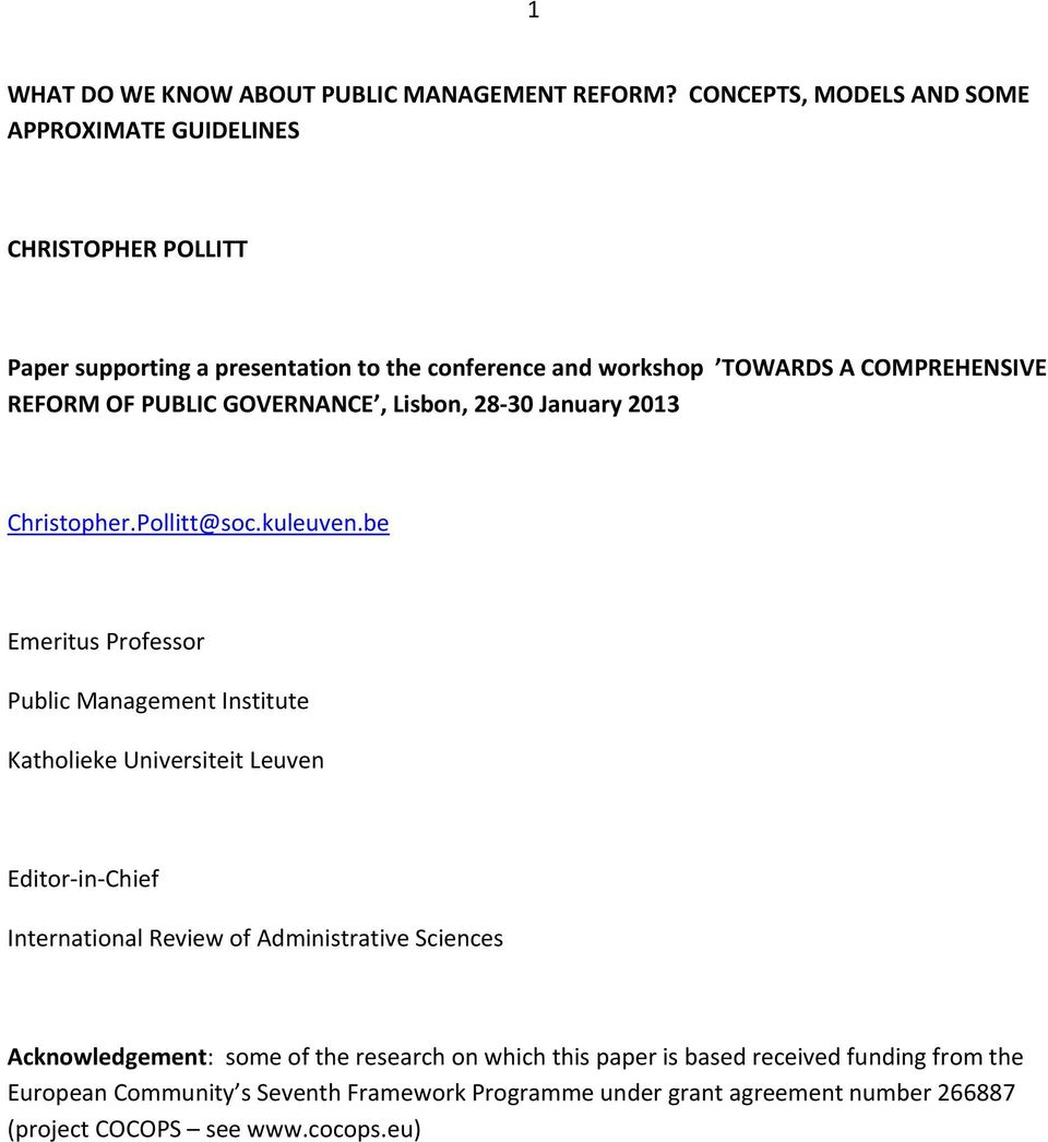 OF PUBLIC GOVERNANCE, Lisbon, 28 30 January 2013 Christopher.Pollitt@soc.kuleuven.