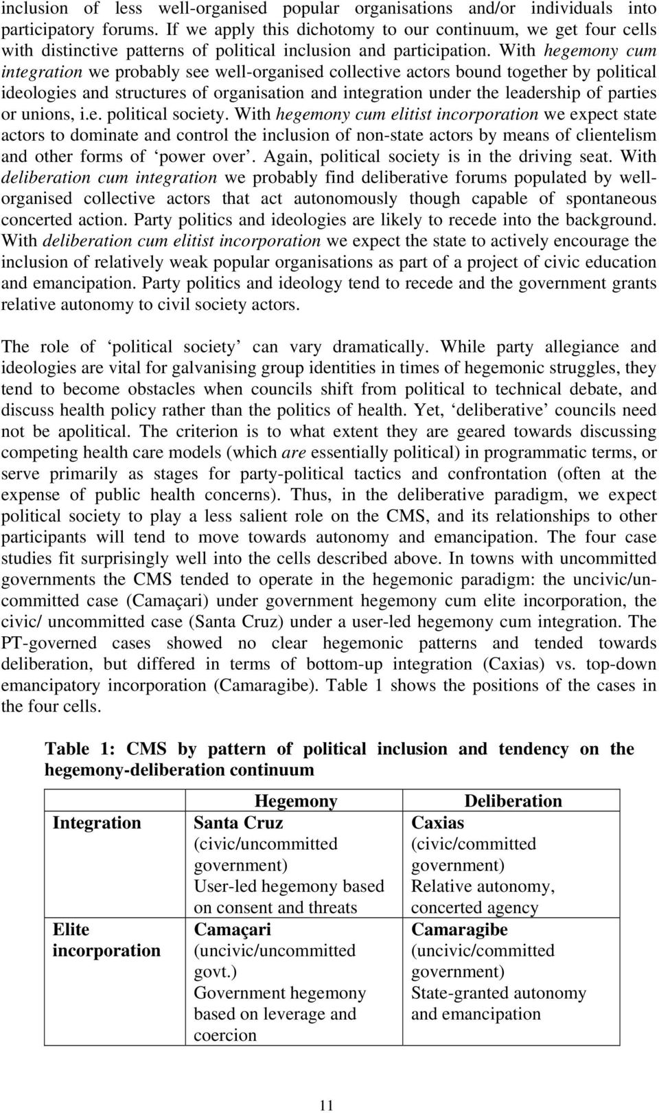 With hegemony cum integration we probably see well-organised collective actors bound together by political ideologies and structures of organisation and integration under the leadership of parties or