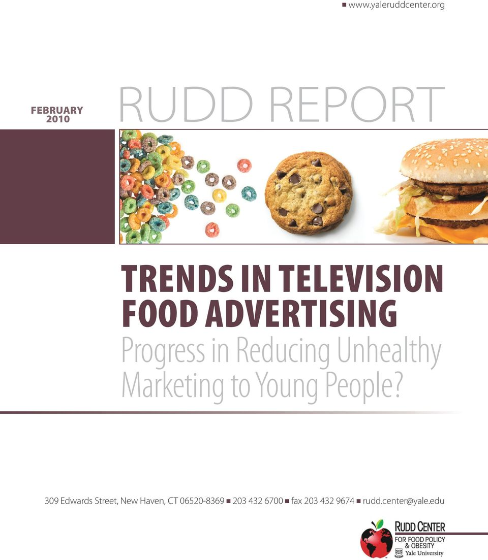 Progress in Reducing Unhealthy Marketing to Young People?