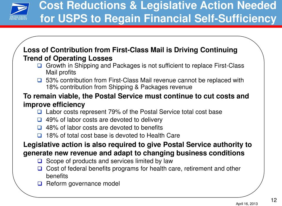 viable, the Postal Service must continue to cut costs and improve efficiency Labor costs represent 79% of the Postal Service total cost base 49% of labor costs are devoted to delivery 48% of labor