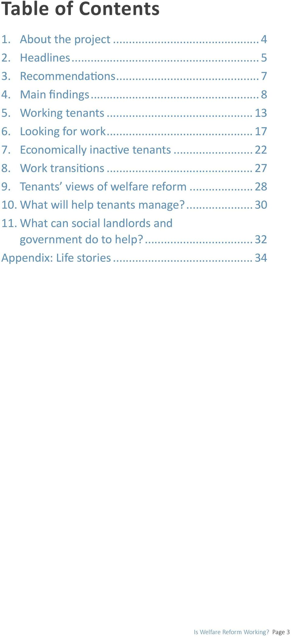 .. 27 9. Tenants views of welfare reform... 28 10. What will help tenants manage?... 30 11.