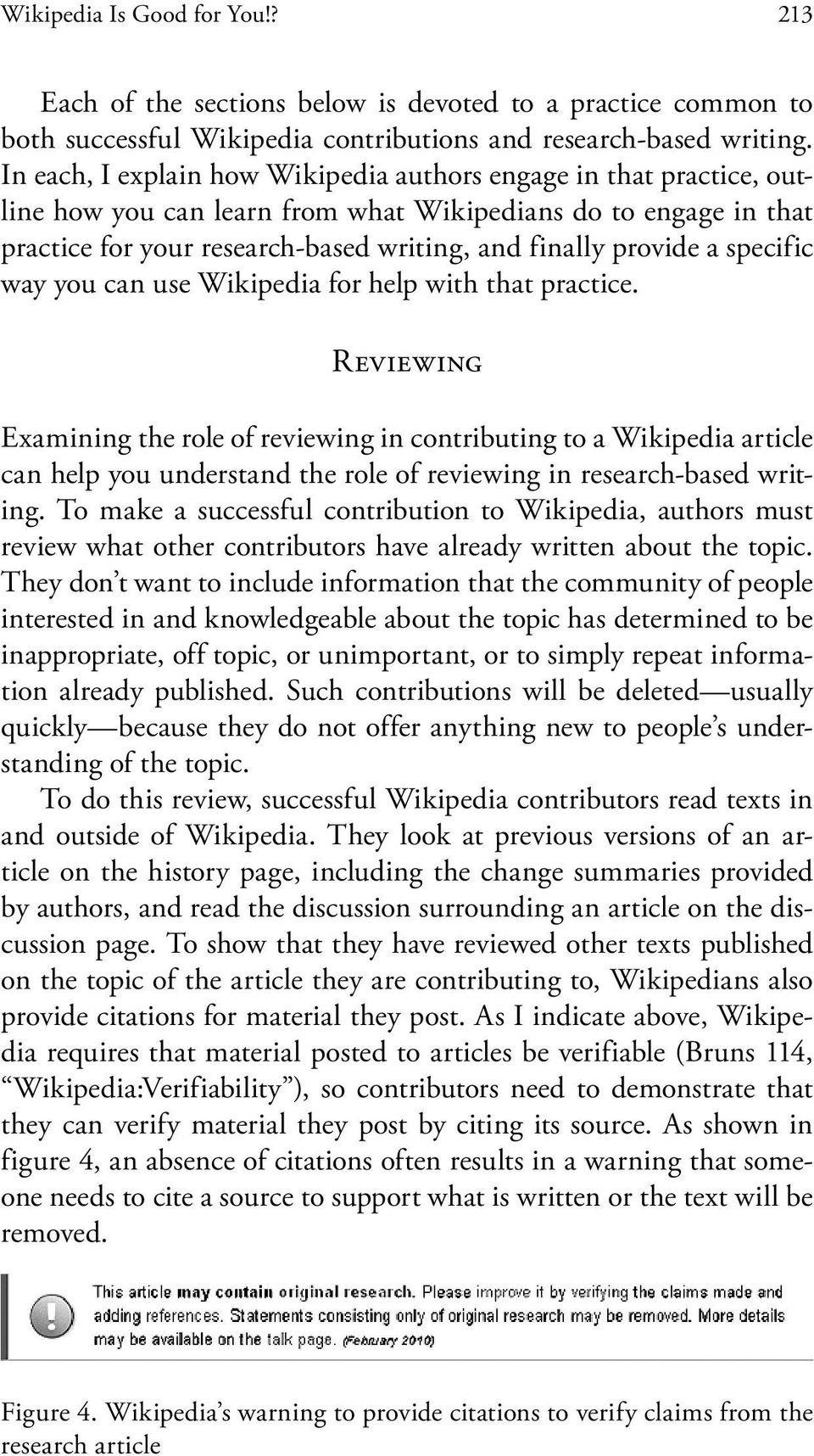 specific way you can use Wikipedia for help with that practice.