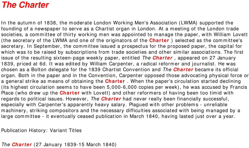 Charter ) selected as the committee's secretary.