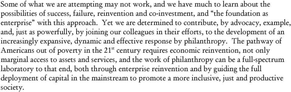 response by philanthropy.