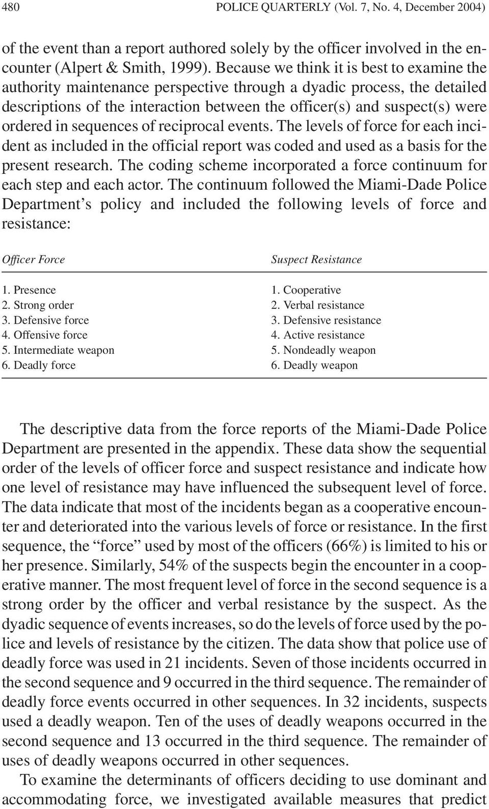 in sequences of reciprocal events. The levels of force for each incident as included in the official report was coded and used as a basis for the present research.