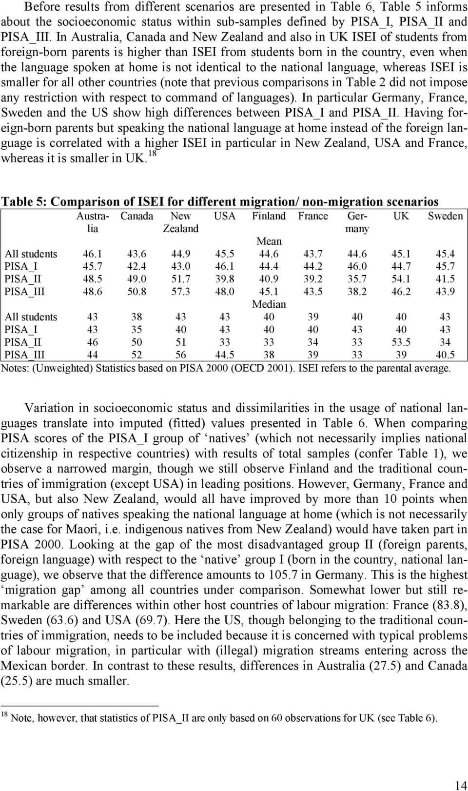 national language, whereas ISEI is smaller for all other countries (note that previous comparisons in Table 2 did not impose any restriction with respect to command of languages).