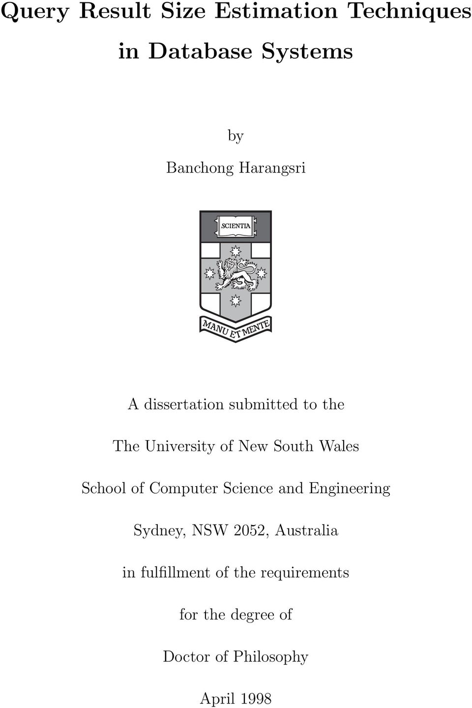 School of Computer Science and Engineering Sydney, NSW 2052, Australia in