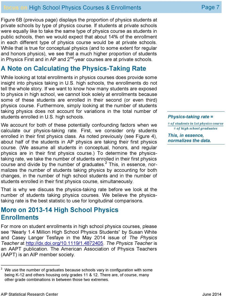 physics course would be at private schools.
