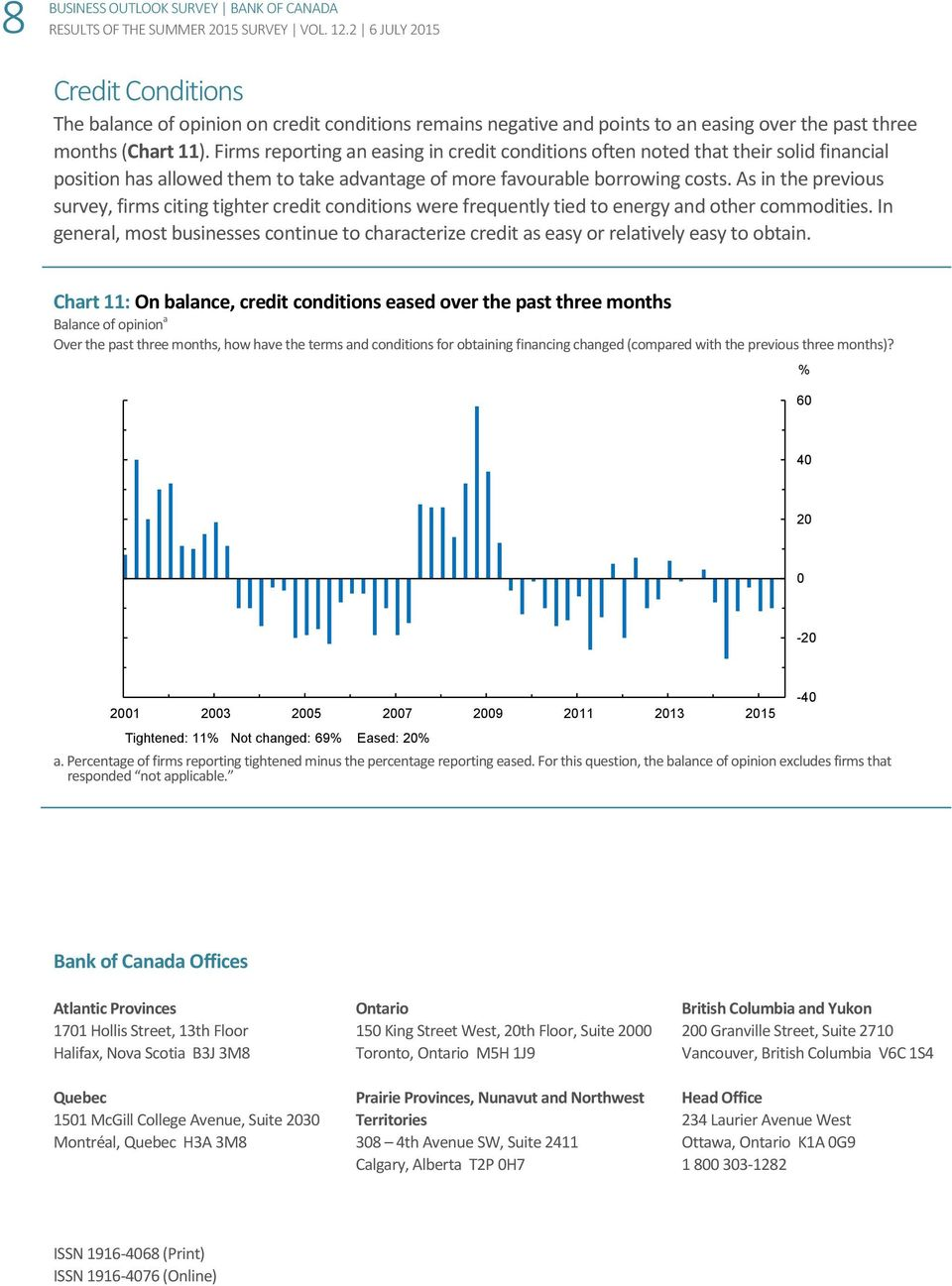 As in the previous survey, firms citing tighter credit conditions were frequently tied to energy and other commodities.