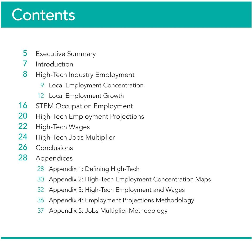 28 Appendix 1: Defining High-Tech 30 Appendix 2: High-Tech Employment Concentration Maps 32 Appendix 3: High-Tech Employment and Wages 36