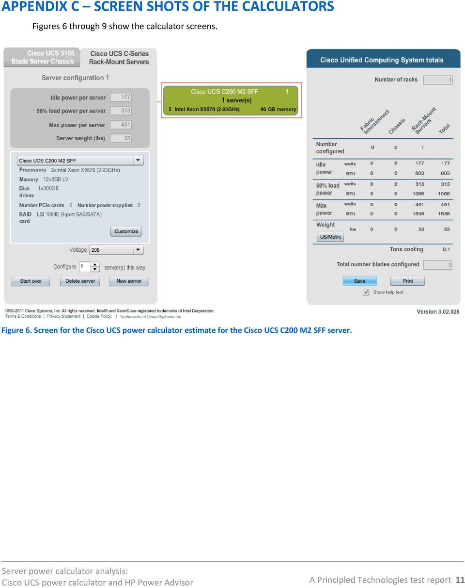 Screen for the Cisco UCS power calculator estimate for