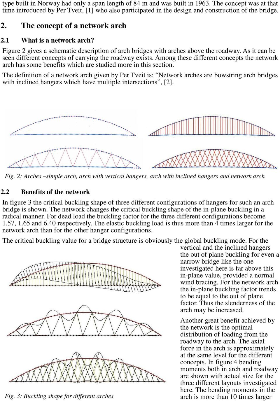 As it can be seen different concepts of carrying the roadway exists. Among these different concepts the network arch has some benefits which are studied more in this section.