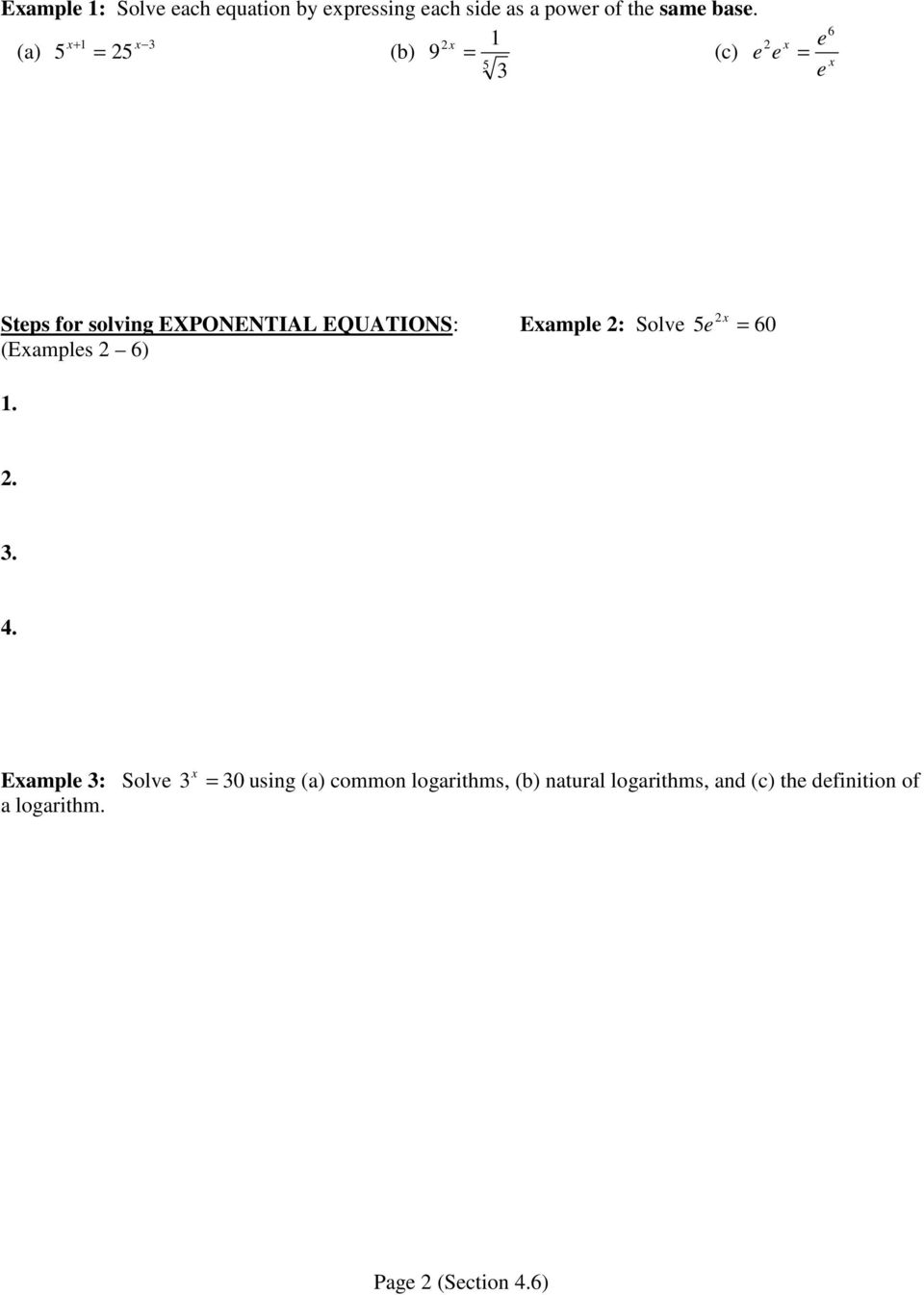 worksheet Solving Exponential Equations With Logarithms Worksheet 4 6 exponential and logarithmic equations part i pdf eample solve 5e 60 eamples 1 3 4