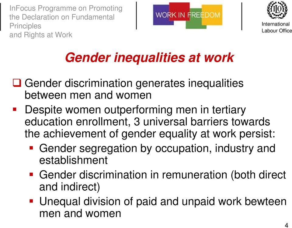 gender equality at work persist: Gender segregation by occupation, industry and establishment Gender