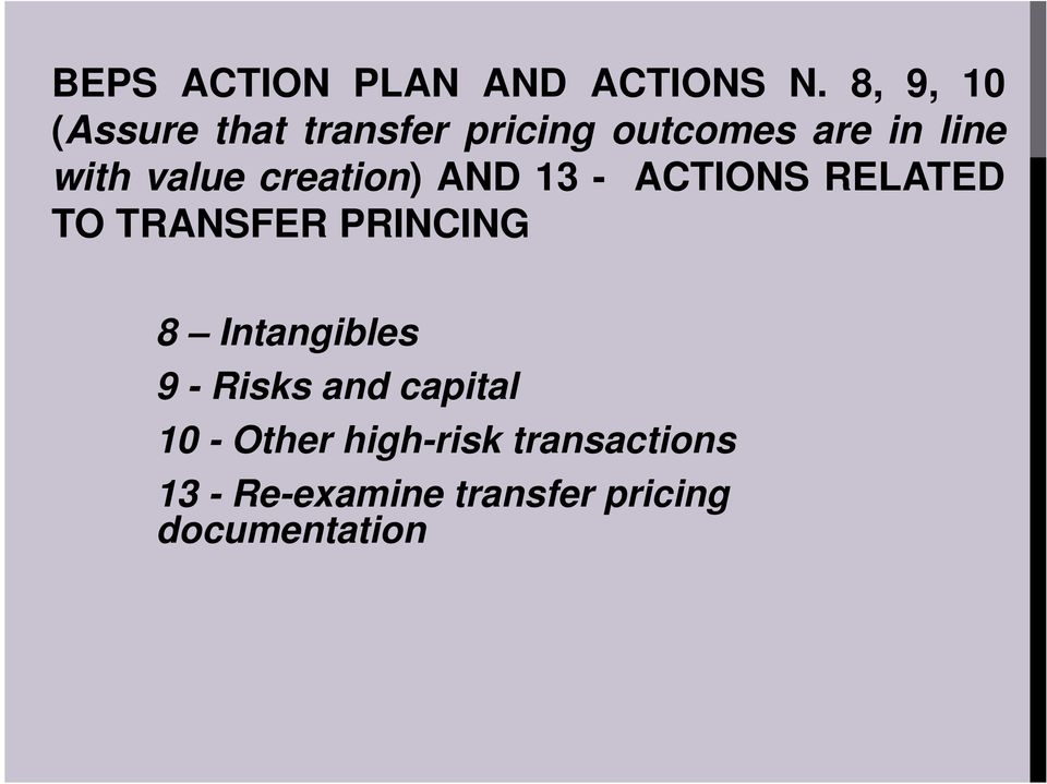value creation) AND 13 - ACTIONS RELATED TO TRANSFER PRINCING 8