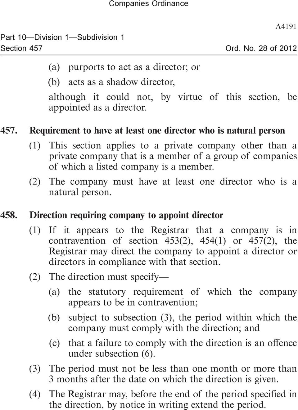 listed company is a member. (2) The company must have at least one director who is a natural person. 458.