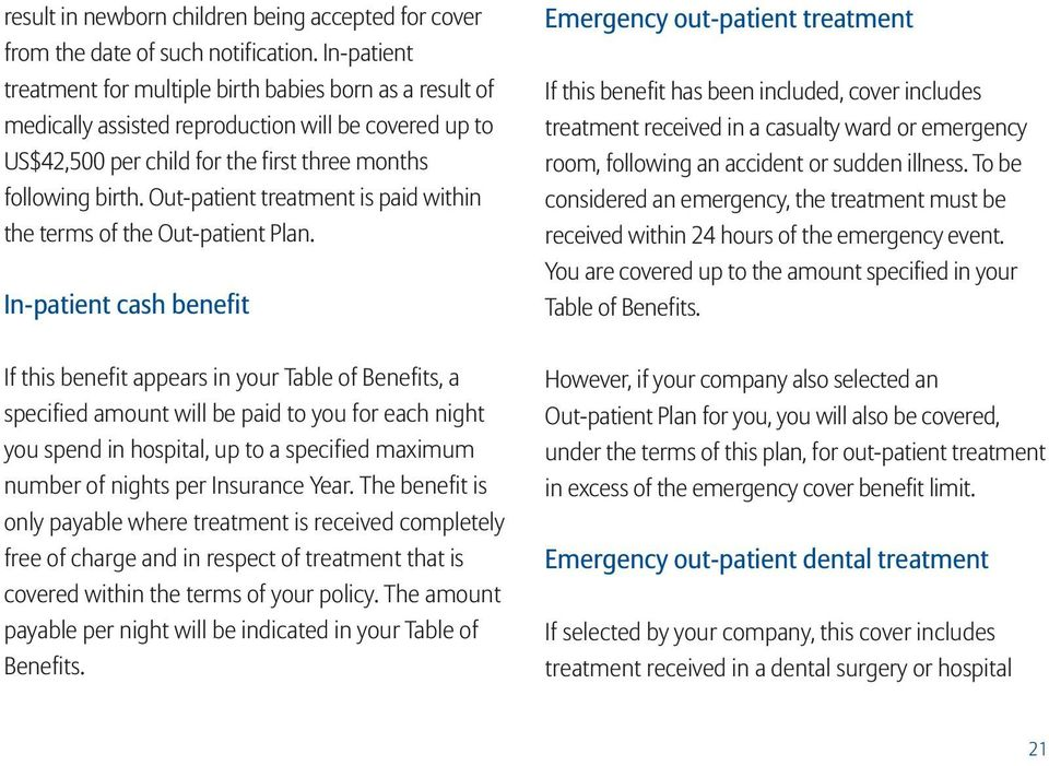 Out-patient treatment is paid within the terms of the Out-patient Plan.