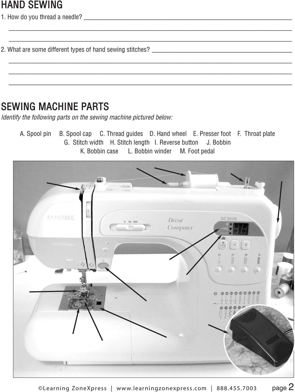 _ SEWING MACHINE PARTS Identify the following parts on the sewing machine pictured below: A.