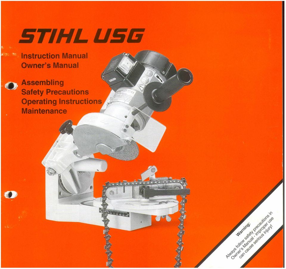 Stihl Contents English Pdf Chainsaw Engine Diagram Guide To Using This Manual Safety Precautions Applications Mounting The Tool Selecting Grinding Wheel
