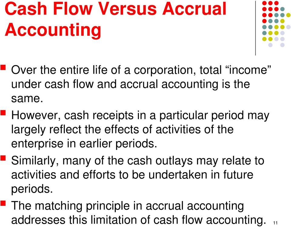 However, cash receipts in a particular period may largely reflect the effects of activities of the enterprise in