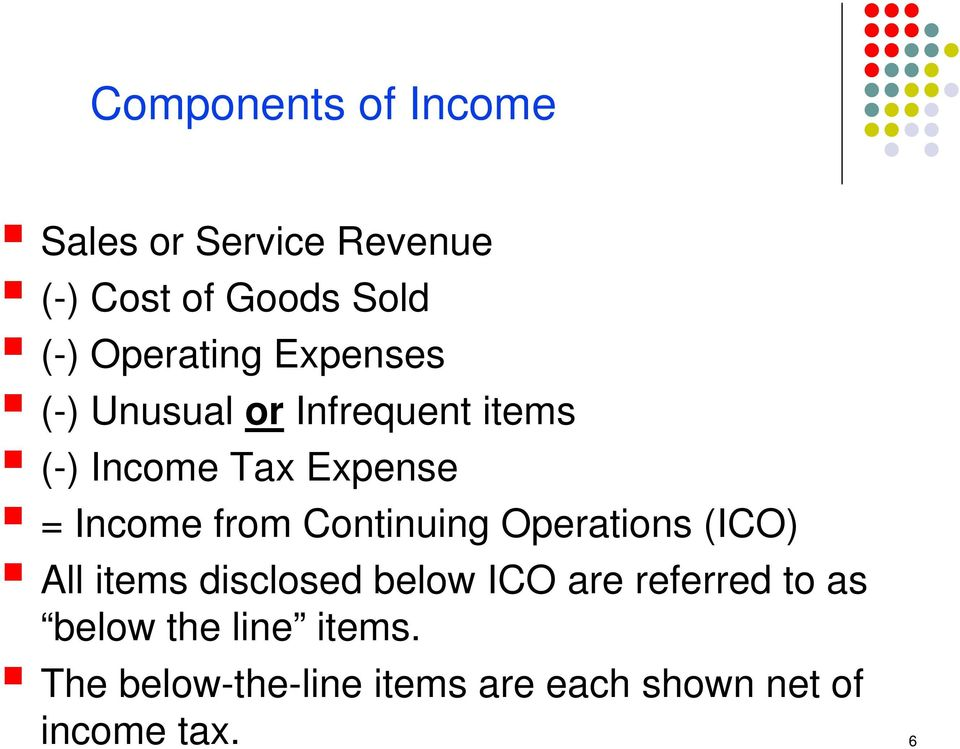 Income from Continuing Operations (ICO) All items disclosed below ICO are