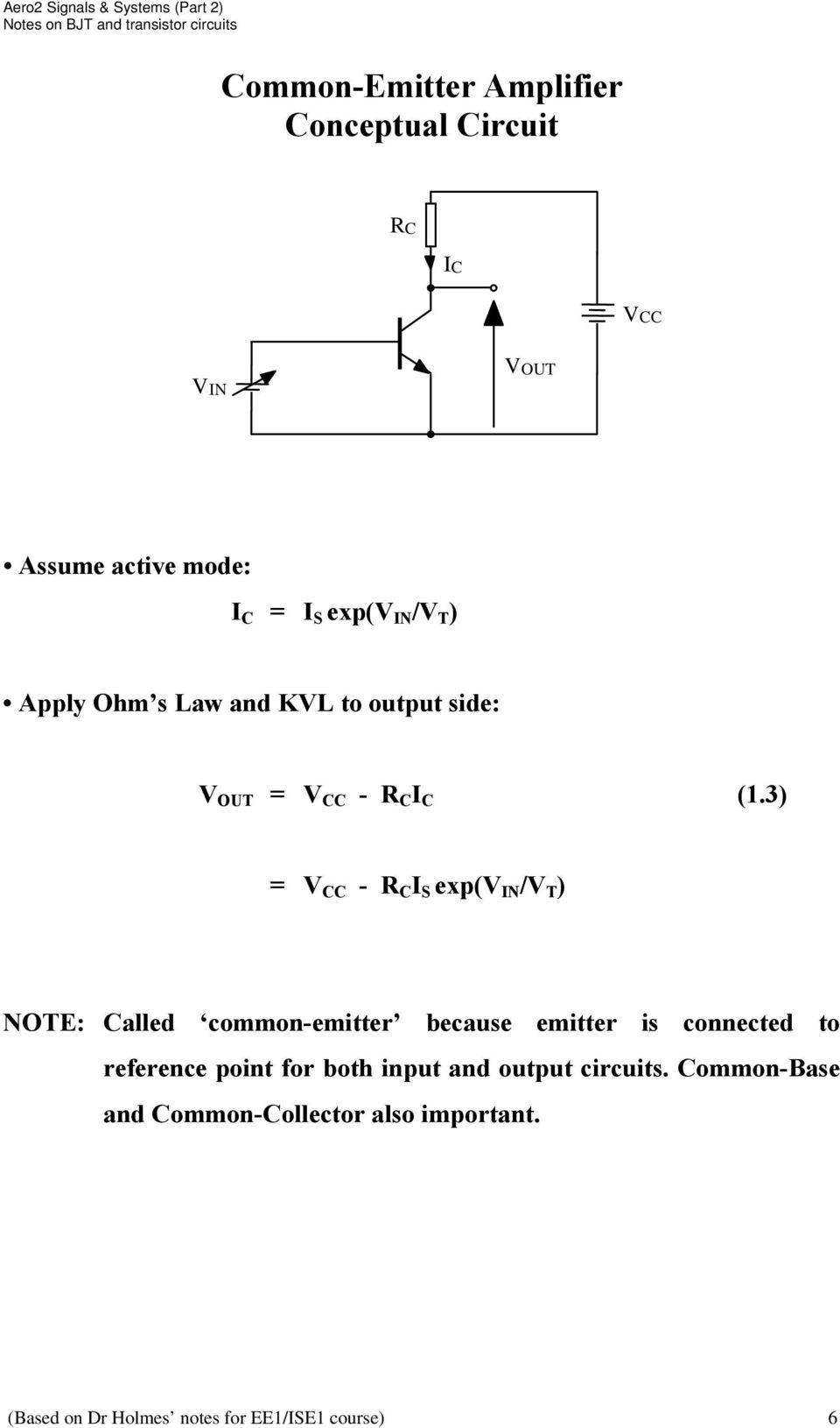 3) = V CC - R C I S exp(v IN /V T ) NOTE: Called common-emitter because emitter is connected to