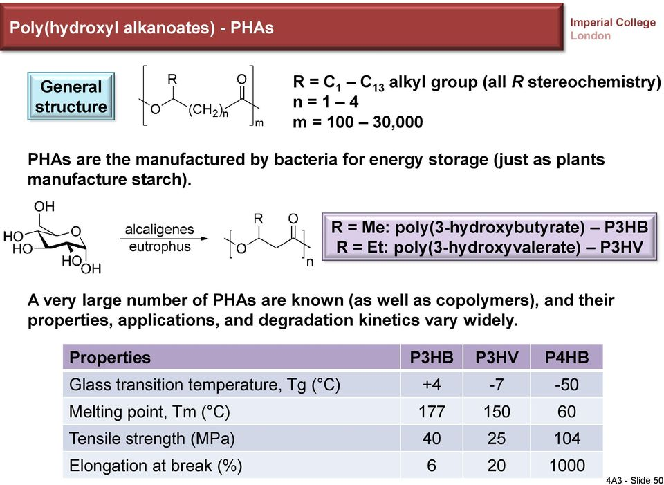 R = Me: poly(3-hydroxybutyrate) P3HB R = Et: poly(3-hydroxyvalerate) P3HV A very large number of PHAs are known (as well as copolymers), and their