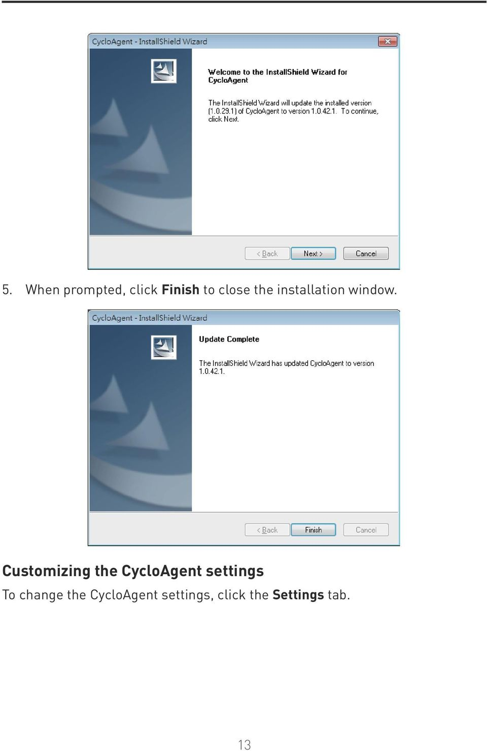 Customizing the CycloAgent settings To