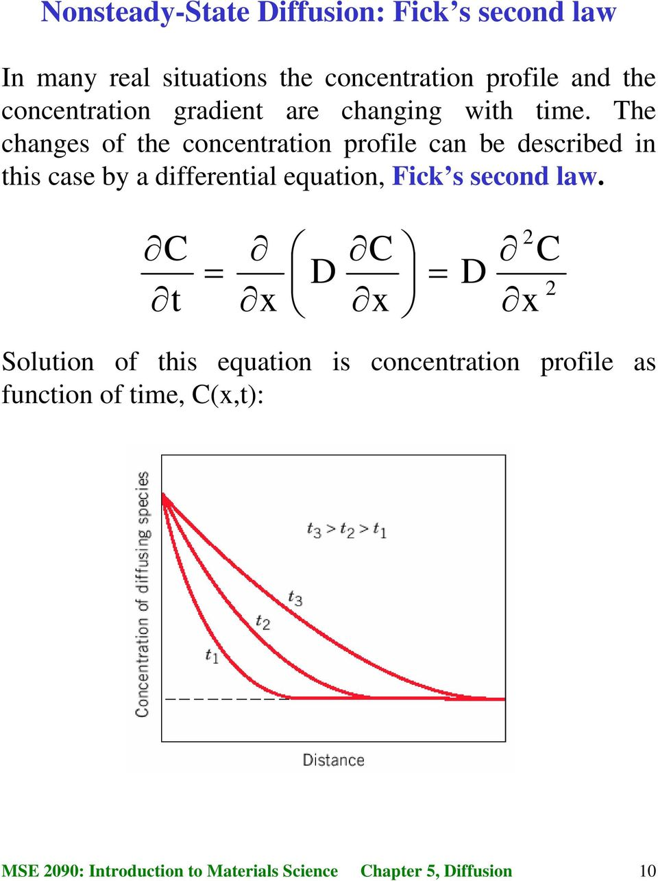 The changes of the concentration profile can be described in this case by a differential