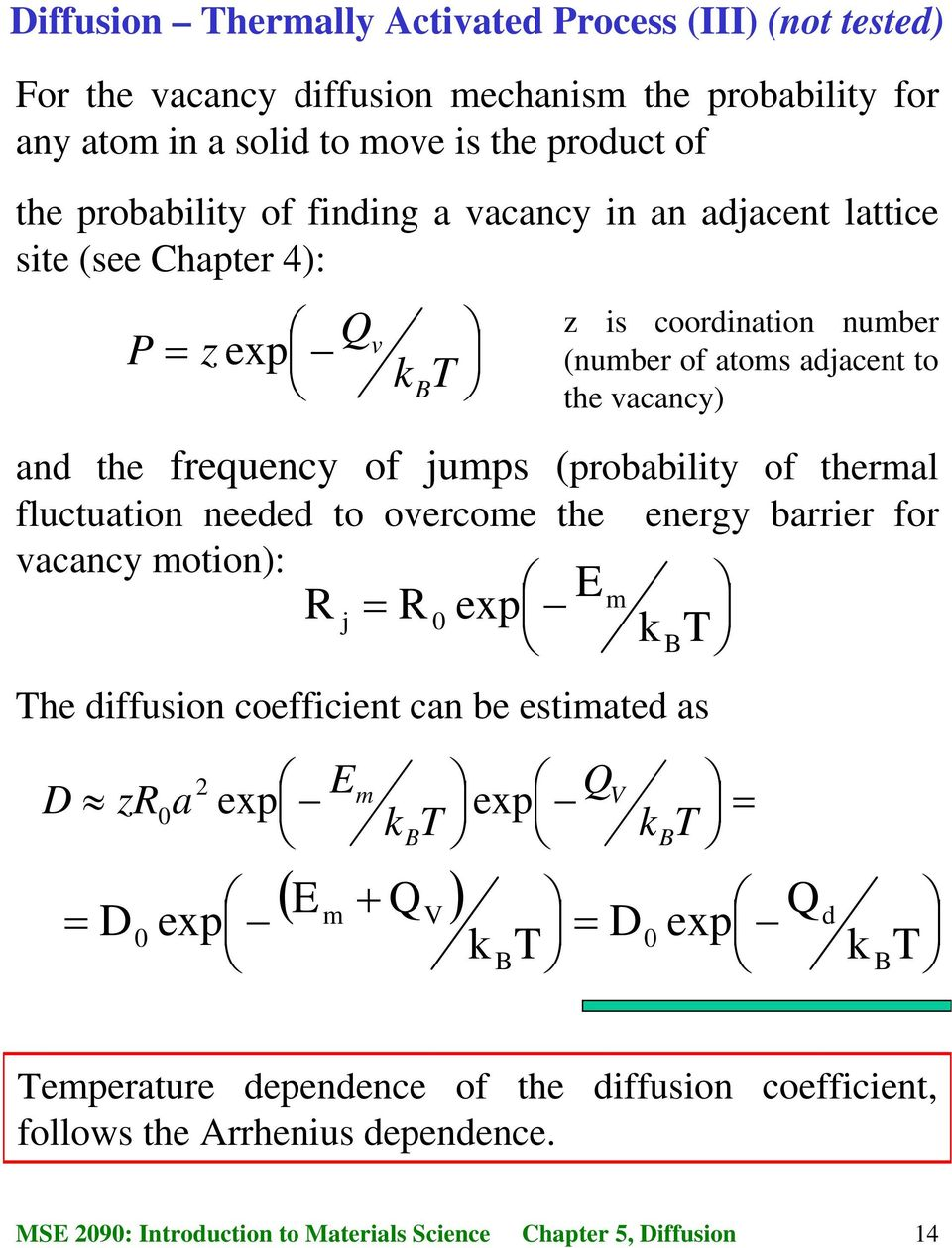 coordination number (number of atoms adjacent to the vacancy) and the frequency of jumps (probability of thermal fluctuation needed to overcome the energy barrier for