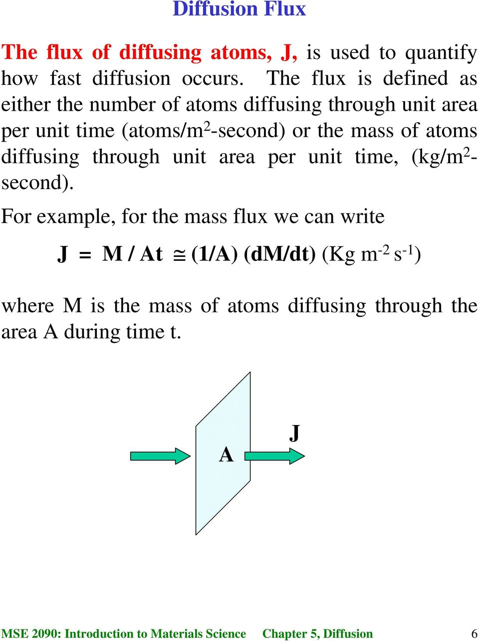 or the mass of atoms diffusing through unit area per unit time, (kg/m 2 - second).