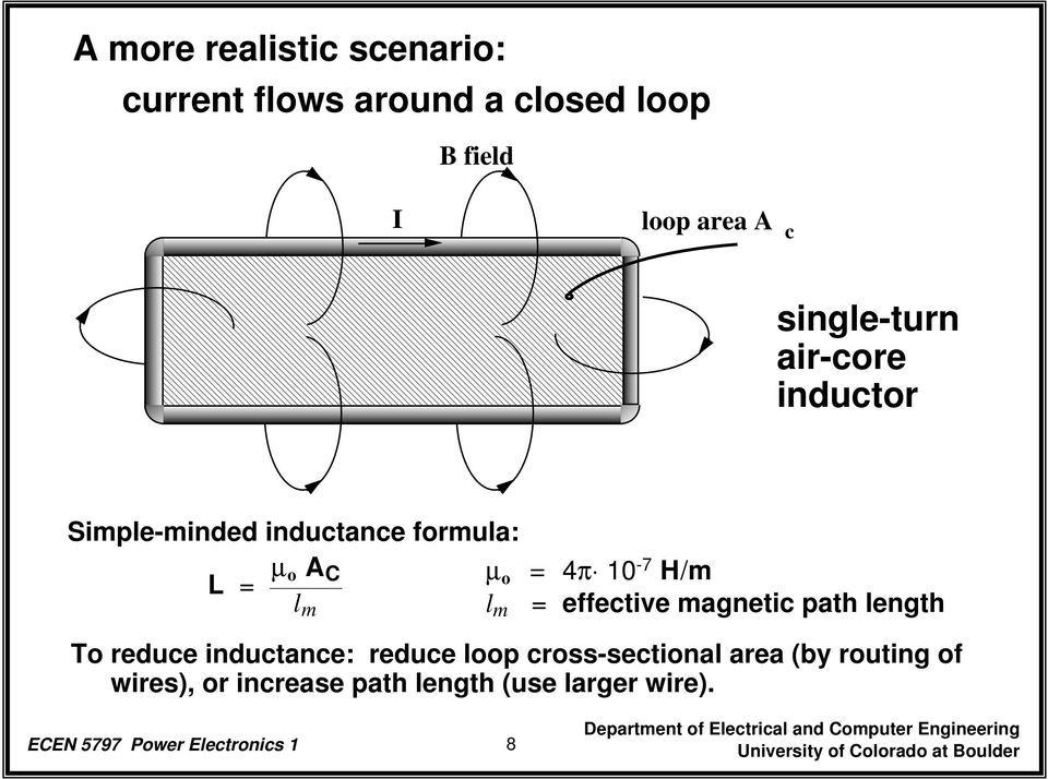 H/m l m = effective magnetic path length To reduce inductance: reduce loop cross-sectional