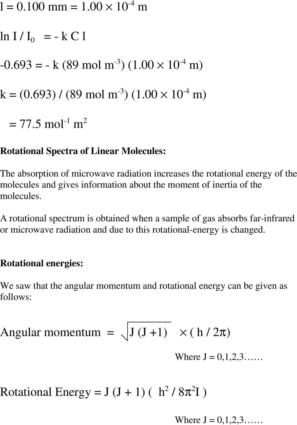 moment of inertia of the molecules.