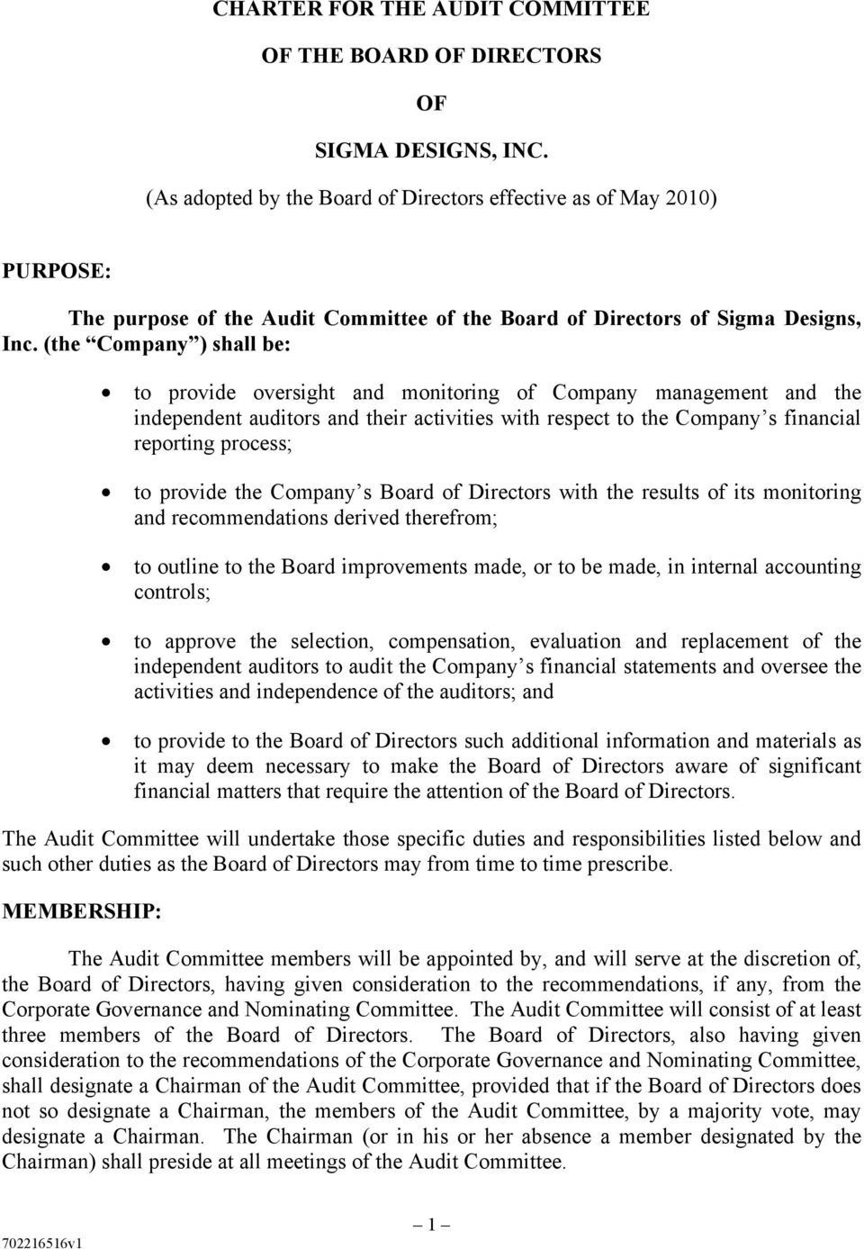 (the Company ) shall be: to provide oversight and monitoring of Company management and the independent auditors and their activities with respect to the Company s financial reporting process; to