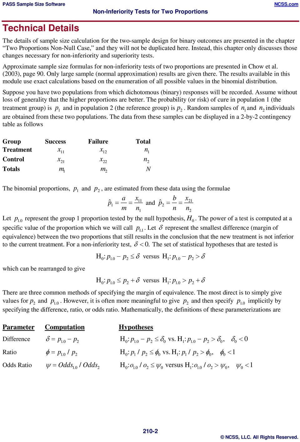 Approximate sample size formulas for non-inferiority tests of two proportions are presented in Chow et al. (003), page 90. Only large sample (normal approximation) results are given there.