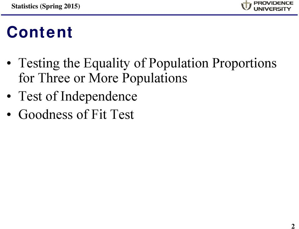 Three or More Populations Test