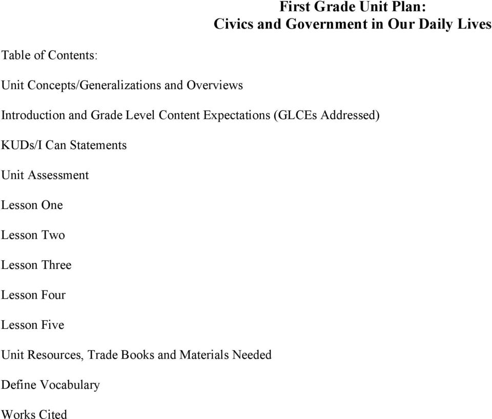 (GLCEs Addressed) KUDs/I Can Statements Unit Assessment Lesson One Lesson Two Lesson Three