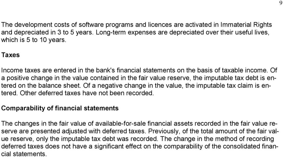 Of a positive change in the value contained in the fair value reserve, the imputable tax debt is entered on the balance sheet. Of a negative change in the value, the imputable tax claim is entered.