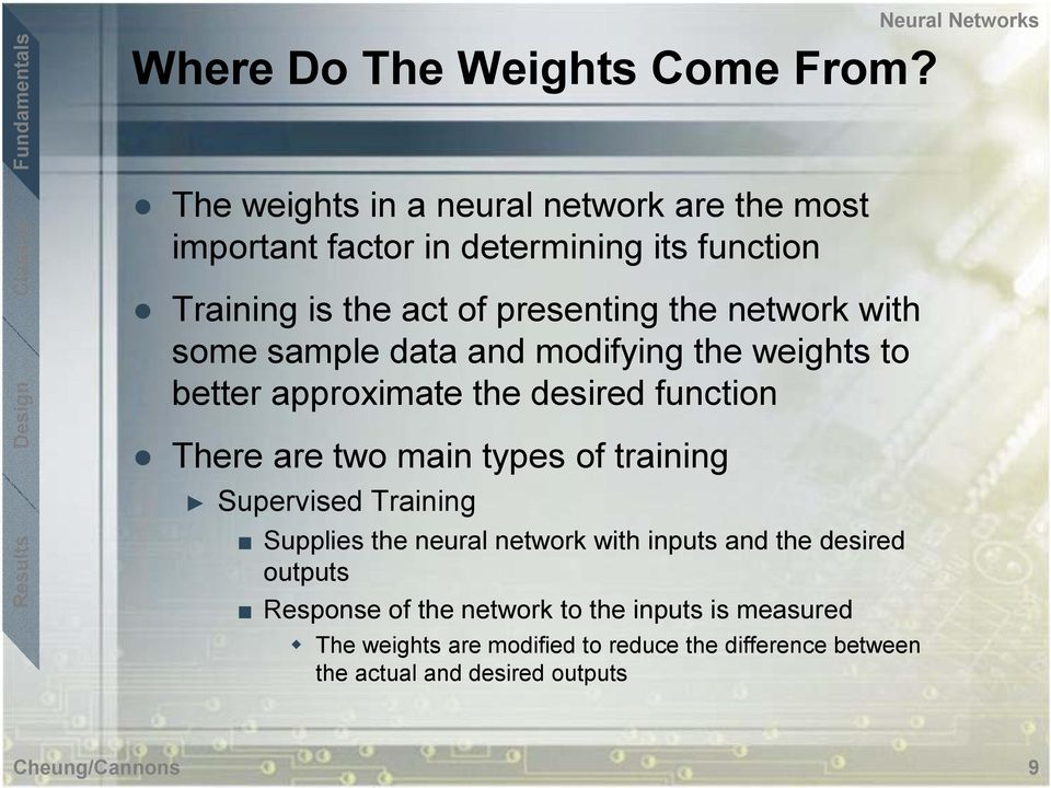 with some sample data and modifying the weights to better approximate the desired function There are two main types of training