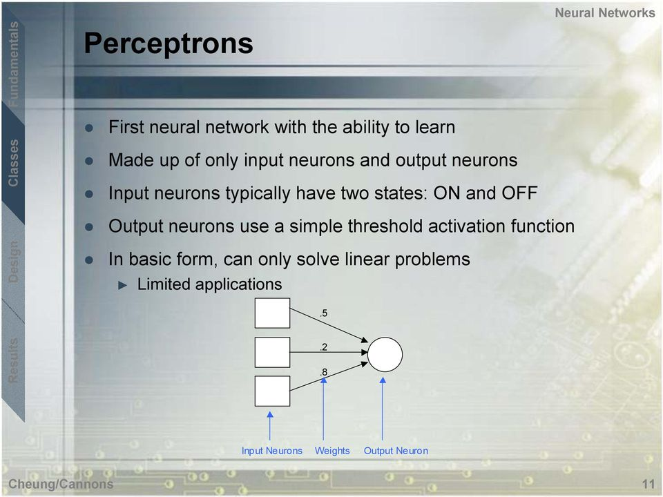 neurons use a simple threshold activation function In basic form, can only solve