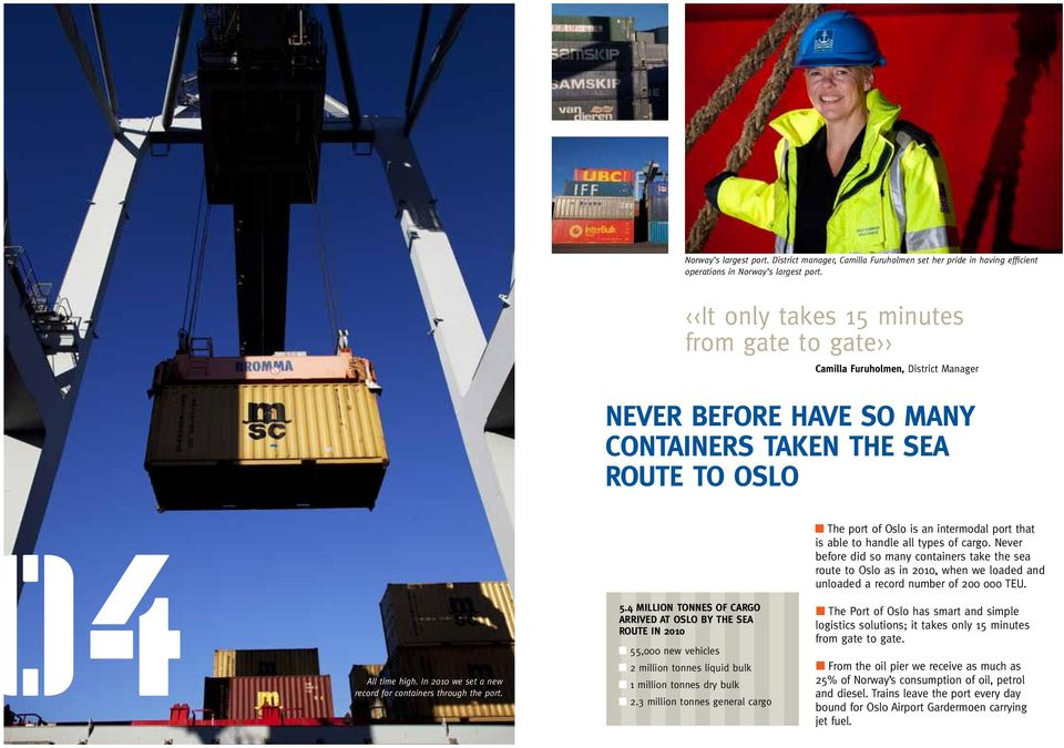 In 2010 we set a new record for containers through the port. 5.